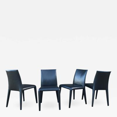 Mario Bellini B B Italia Mario Bellini Thick Black Leather Modern Vol Au Vent Dining Chairs