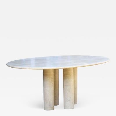 Mario Bellini Colonnata II oval dining table in travertine for Cassina 1970