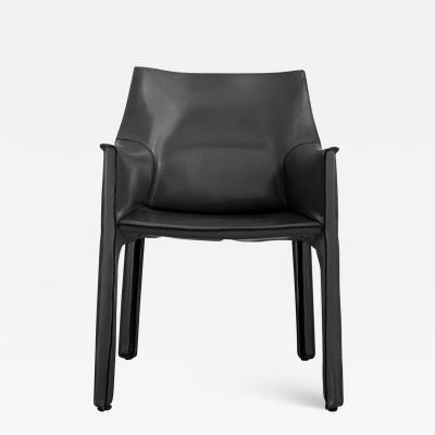 Mario Bellini GREY LEATHER CAB ARM CHAIR BY MARIO BELLINI FOR CASSINA