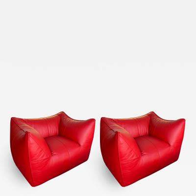 Mario Bellini Le Bambole Armchairs Red Leather by Mario Bellini for B B Italia 1970s