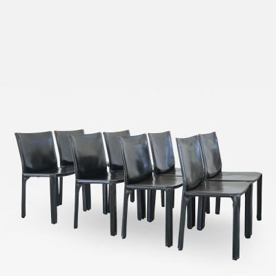 Mario Bellini MARIO BELLINI CAB CHAIRS IN BLACK LEATHER SET OF 8