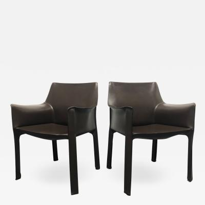 Mario Bellini Mario Bellini Pair of Brown Leather Cab Chairs for Cassina