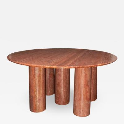 Mario Bellini Monumental Round Il Collonato Red Persian Travertine Table