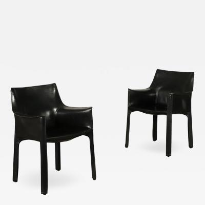 Mario Bellini Pair Of Chairs Mario Bellini Metal Leather 1980s