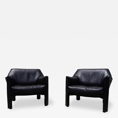 Mario Bellini Pair of Black Leather Cab Armchairs by Mario Bellini for Cassina
