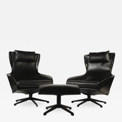 Mario Bellini Pair of Mario Bellini Model 423 Cab Lounge Chairs with Swivel Ottoman by Cassina