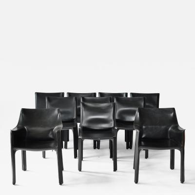 Mario Bellini Set of Ten Black Leather Cab Chairs by Mario Bellini for Cassina