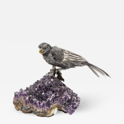 Mario Buccellati An Exceptional Italian Silver Parrot on Amethyst