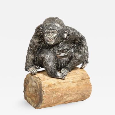 Mario Buccellati a Rare and Exceptional Italian Silver Gorilla Monkey on Base