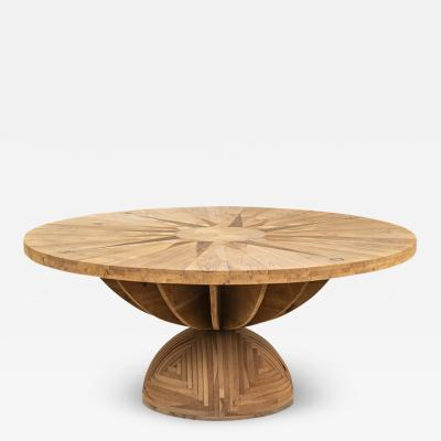 Mario Ceroli Mario Ceroli Rosa Dei Venti Table in Inlaid Wood for Poltronova