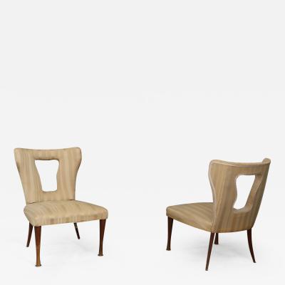 Mario Gottardi pair of Gottardi Mario armchairs in 50s velvet silk