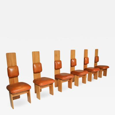 Mario Marenco Beech and Leather Dining Chairs by Mario Marenco Italy Set of Six 1970s