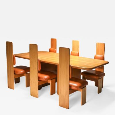 Mario Marenco Beech and Leather Dining Room Set by Mario Marenco Italy Set of Six chairs