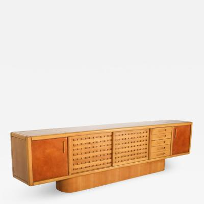 Mario Marenco Beech and Leather Sideboard by Mario Marenco Italy 1970s