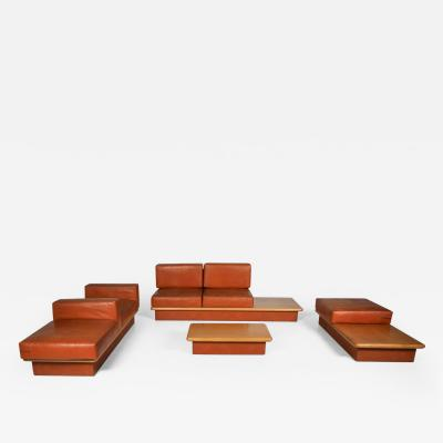 Mario Marenco Beech and leather living room set by Mario Marenco Italy set of six 1970s
