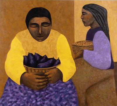 Mario Miguel Mollari Mujer con granos Oil on Canvas