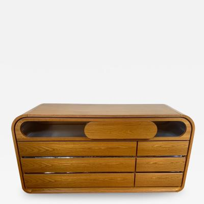 Mario Sabot Chest of Drawers Wood and Stainless Steel by Mario Sabot Italy 1970s