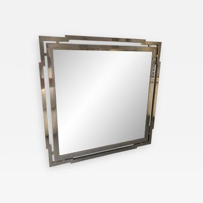 Mario Sabot Large Mirror Metal Chrome by Mario Sabot Italy 1970s
