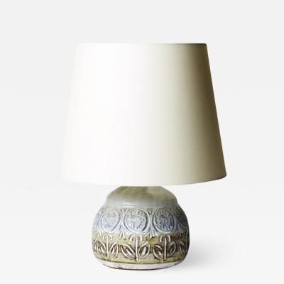 Marius Bessone Table lamp in stoneware with carved flowers by Vallauris potter Marius Bessone