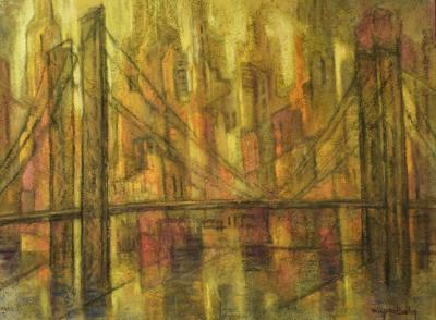 Marjorie Bishop New York Sunset Painting With Sand On Canvas 1940s Signed