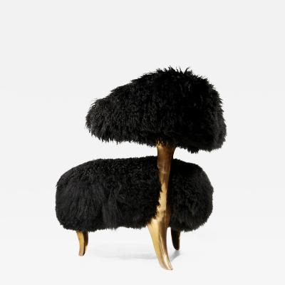 Mark Brazier Jones Lunar Chair in Bronze with Black Mongolian Sheepskin