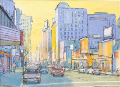 Mark Burton Cityscape in blues and yellow