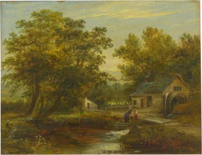 Mark Edwin Dockree A Small Mill Antique Landscape Painting by Mark Dockree English 1856 1901