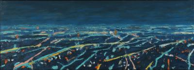 Mark Horton Aerial View of City Horizon at Night 18 x50