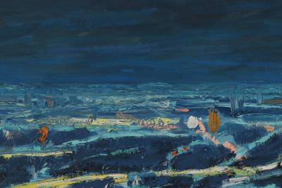 Mark Horton Aerial View of City Horizon at Night 18 x50