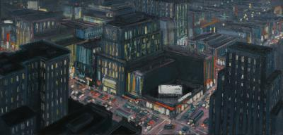 Mark Horton City Corner at Night 28 x 58