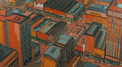 Mark Horton City in Orange and Green 32 x 58