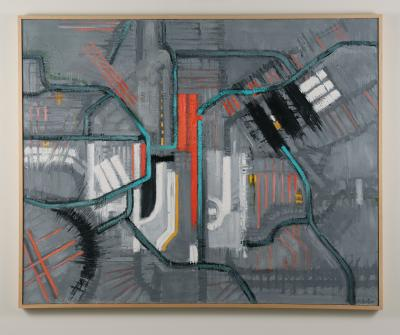 Mark Horton Map in Gray Red and White 40 x 50