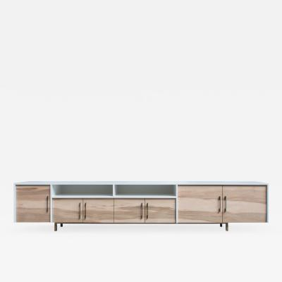 Mark Jupiter Brown Maple and Solid Brass Console by Mark Jupiter