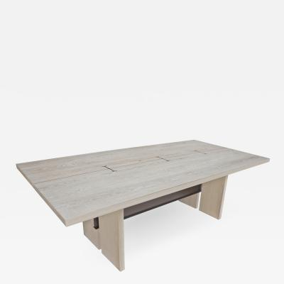 Mark Jupiter Cerused White Oak I Beam Table by Mark Jupiter