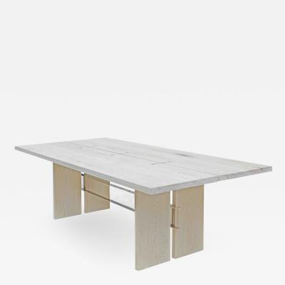 Mark Jupiter White Washed Oak and Polished Nickel I Beam Table by Mark Jupiter