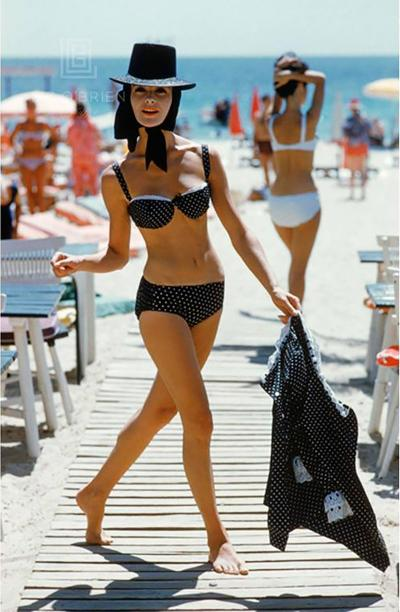 Mark Shaw Black Bikini on St Tropez Boardwalk