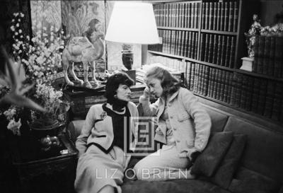Mark Shaw Coco Chanel Visits with Jeanne Moreau