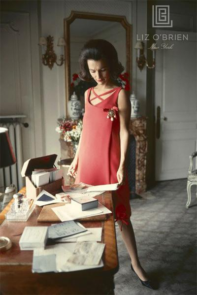 Mark Shaw Dior Lee Radziwill Red Dress at Desk