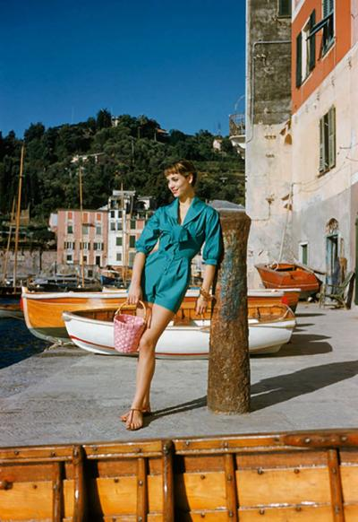 Mark Shaw Elsa Martinelli Wearing Teal in Portofino