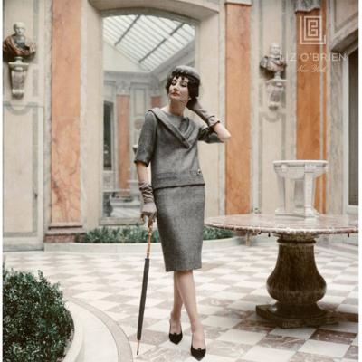 Mark Shaw Jacqueline de Ribes in Gray Dior Suit