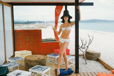 Mark Shaw White Bikini in St Tropez Beach Cabana