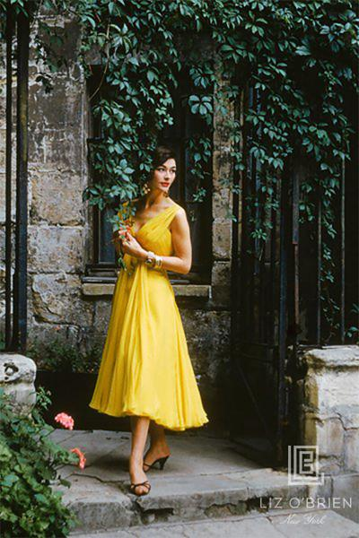 Mark Shaw Yellow Chiffon in a Courtyard in the Passage du Commerce Saint Andre