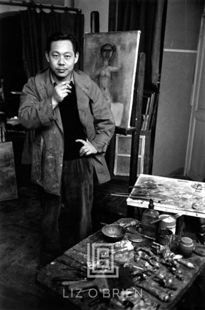 Mark Shaw Zao Wou Ki Portrait with Nude Painting circa 1950