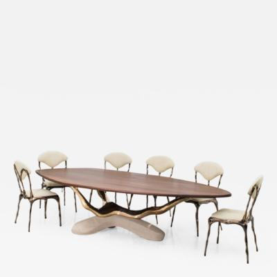 Markus Haase Markus Haase Bronze Walnut and Limestone Dining Table USA 2018