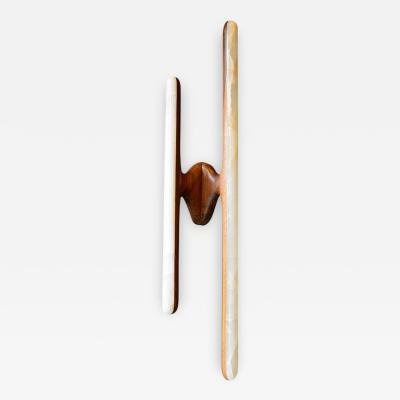 Markus Haase Markus Haase Hand Sculpted Black Walnut and Onyx Sconce USA 2014