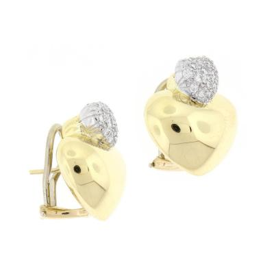 Marlene Stowe Marlene Stowe Double Heart Diamond Gold Earrings
