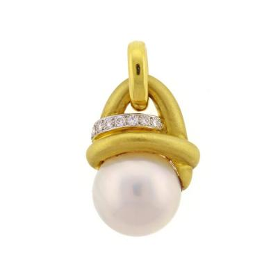 Marlene Stowe Marlene Stowe Mabe Pearl Diamond Gold Drop Pendant
