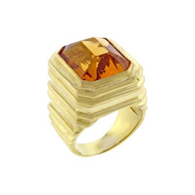 Marlene Stowe Marlene Stowe Step Cut Citrine Large Gold Ring