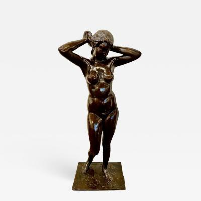 Marnix D Haveloose Art Deco Bronze Female Statue by Belgian Artist M DHaveloose