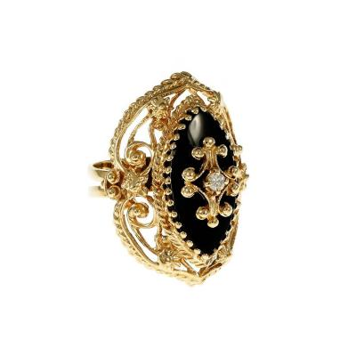 Marquise Onyx Diamond Open Work Gold Cocktail Ring
